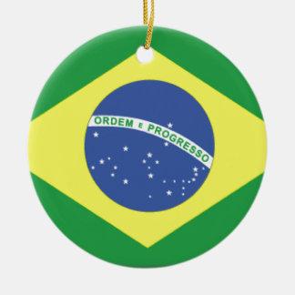 Bandera del Brasil Adorno Navideño Redondo De Cerámica