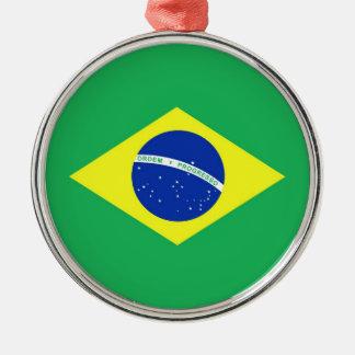 Bandera del Brasil Adorno Navideño Redondo De Metal