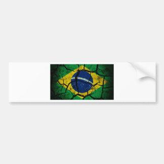 Bandera del Brasil agrietada Etiqueta De Parachoque