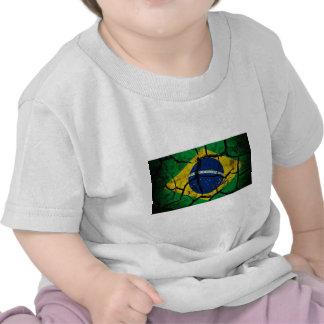 Bandera del Brasil agrietada Camiseta