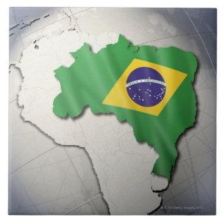 Bandera del Brasil Azulejo Cuadrado Grande
