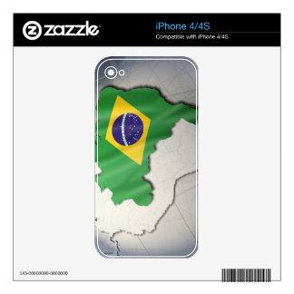 Bandera del Brasil Calcomanía Para iPhone 4S