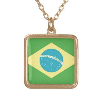 Bandera del Brasil Collar Dorado