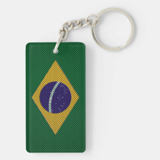 Bandera del Brasil con efecto de la fibra de carbo Llavero Rectangular Acrílico A Doble Cara