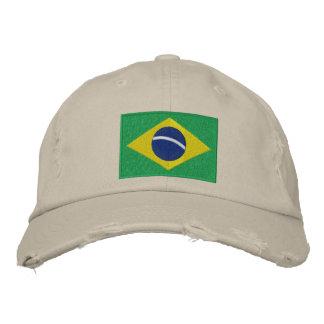 Bandera del Brasil con el texto personalizado Gorros Bordados