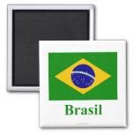 Bandera del Brasil con nombre en portugués Imán Cuadrado