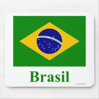 Bandera del Brasil con nombre en portugués Alfombrillas De Ratones