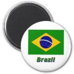Bandera del Brasil con nombre Iman De Nevera