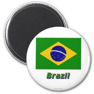 Bandera del Brasil con nombre Imán Redondo 5 Cm