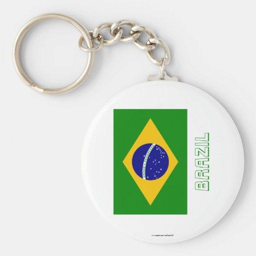 Bandera del Brasil con nombre Llaveros Personalizados