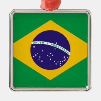Bandera del Brasil Ornamento De Navidad
