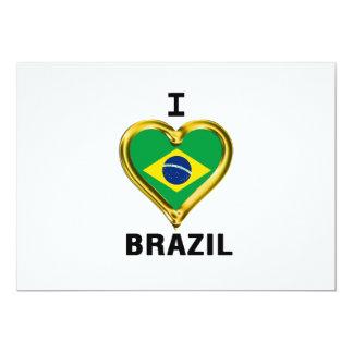 """Bandera del BRASIL del corazón I Invitación 5"""" X 7"""""""