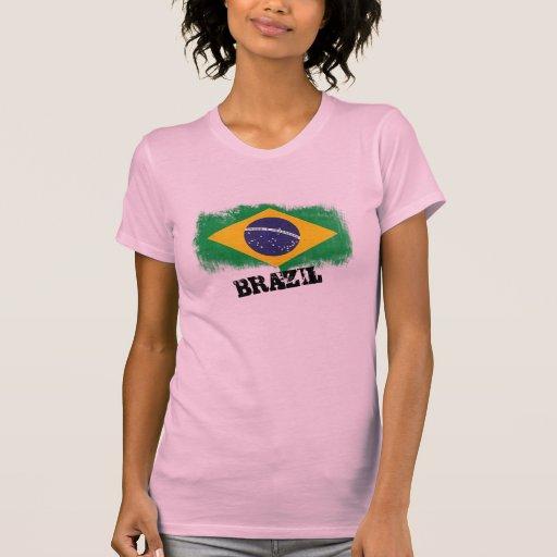 Bandera del Brasil del Grunge Camiseta