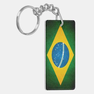 Bandera del Brasil del Grunge Llavero Rectangular Acrílico A Doble Cara