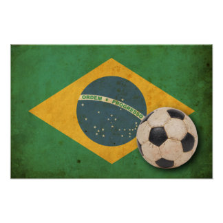 Bandera del Brasil del vintage Poster