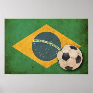 Bandera del Brasil del vintage Póster