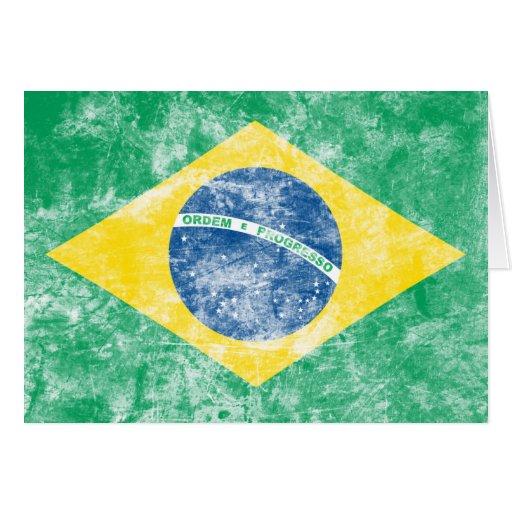 Bandera del Brasil del vintage Tarjetas