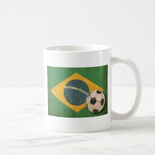 Bandera del Brasil del vintage Taza De Café