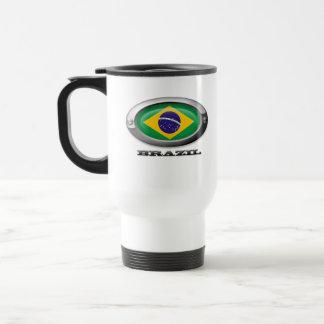 Bandera del Brasil en el marco de acero Tazas De Café