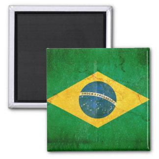 Bandera del Brasil en Grunge Imán Cuadrado