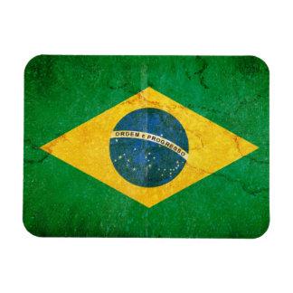 Bandera del Brasil en Grunge Iman Rectangular