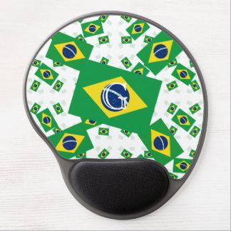 Bandera del Brasil en las capas coloridas Alfombrilla Gel
