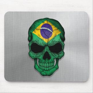 Bandera del Brasil en un gráfico de acero del crán Tapete De Ratones