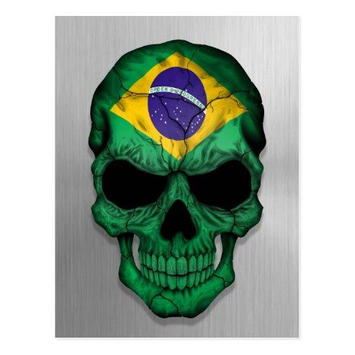 Bandera del Brasil en un gráfico de acero del crán Postal