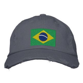 Bandera del Brasil en verde, amarillo y azul Gorras Bordadas