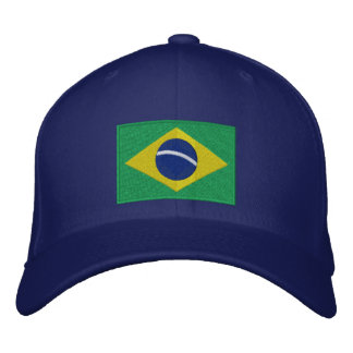 Bandera del Brasil en verde, amarillo y azul Gorra De Beisbol Bordada