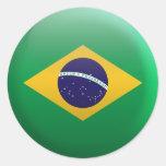Bandera del Brasil Etiquetas Redondas