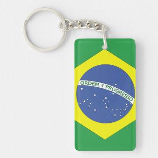 Bandera del Brasil Llavero Rectangular Acrílico A Una Cara