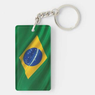Bandera del Brasil Llavero Rectangular Acrílico A Doble Cara