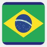 Bandera del Brasil Pegatina Cuadrada