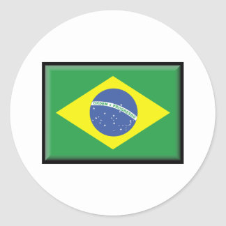 Bandera del Brasil Pegatina Redonda