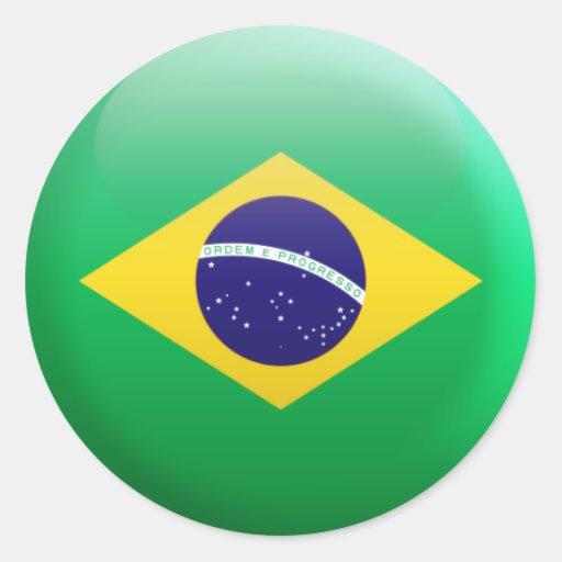 Bandera del Brasil Pegatinas Redondas