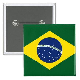 Bandera del Brasil Pin Cuadrada 5 Cm