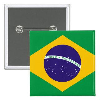 Bandera del Brasil Pin Cuadrado