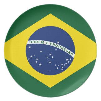 Bandera del Brasil Plato Para Fiesta