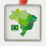 Bandera del Brasil y mapa político Ornaments Para Arbol De Navidad