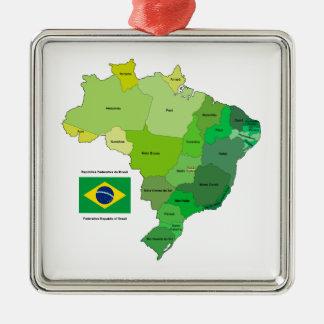 Bandera del Brasil y mapa político Adorno Cuadrado Plateado