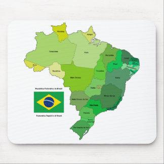 Bandera del Brasil y mapa político Alfombrillas De Raton