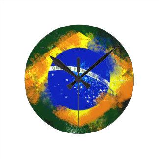 Bandera del brasilen@o del Brasil del BR Reloj Redondo Mediano