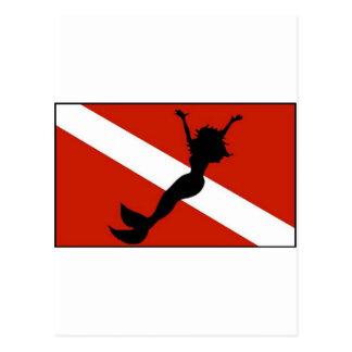 Bandera del buceador de la sirena postales