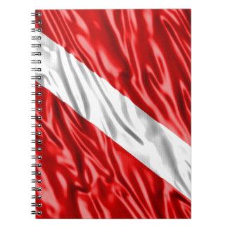 Bandera del buceador libro de apuntes con espiral