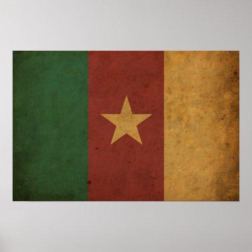 Bandera del Camerún del vintage Póster