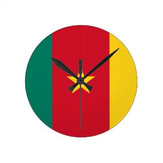 Bandera del Camerún Reloj Redondo Mediano