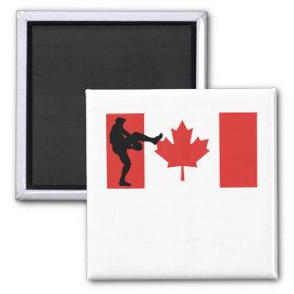 Bandera del canadiense de la jarra del béisbol imán cuadrado