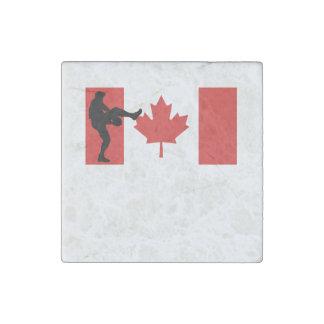 Bandera del canadiense de la jarra del béisbol imán de piedra