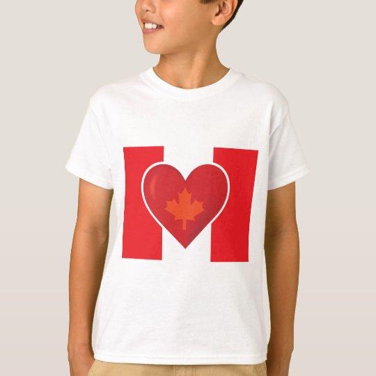 Bandera del canadiense del corazón playera
